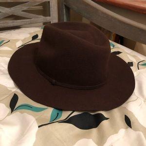 J Crew burgundy wool wide brim hat