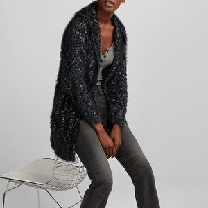 NWT EXPRESS Two Tone Hooded Feather Cover-Up