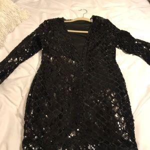 Sequin black mini dress