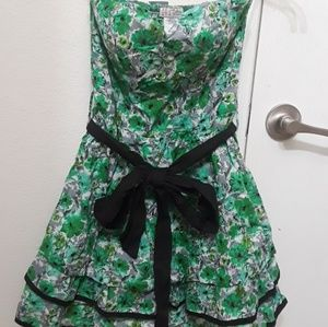 Artsy Green Painted Floral Dress
