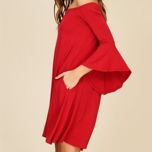 Knit Dress Featuring Solid, Off Shoulder