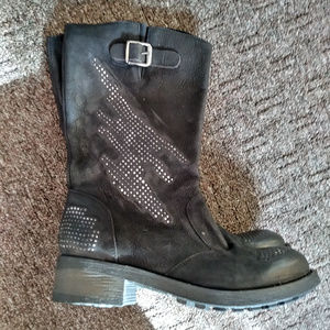 Soft Brazilian Leather boots with nail stud detail