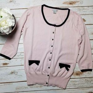 H&M Pale Blush Light pink Cardigan Bows Size Large