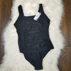 New Black Tummy Control Swim Suit sz 12