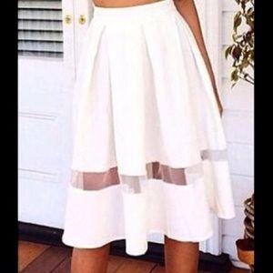 White mesh panel midi summer flowy skirt