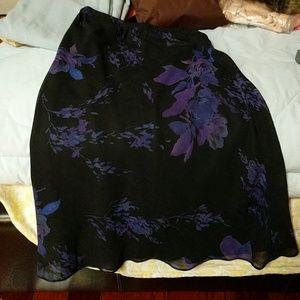 Black midi skirt with purple flowers