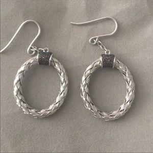 Jewelry - RED DIAMOND OVAL DANGLE EARRINGS