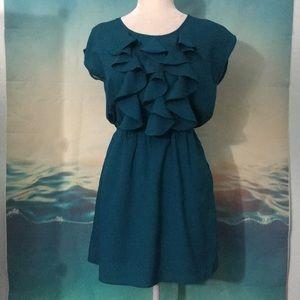 Emerald Color Ruffle Dress C