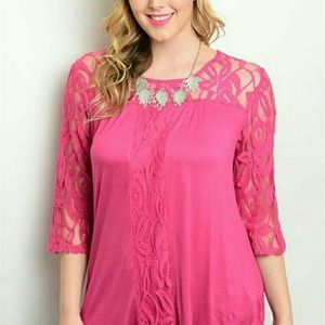 New Junior's Cute Boutique Hot pink lace top