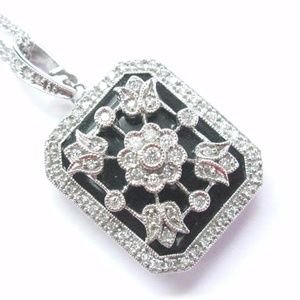 Fine Onyx Diamond Milgrain Flower Locket Pendant W