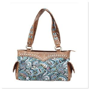Turquoise Paisley Quilted Satchel