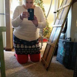 Womens Snowman ⛄️ Sweater Mini Skirt Size Large