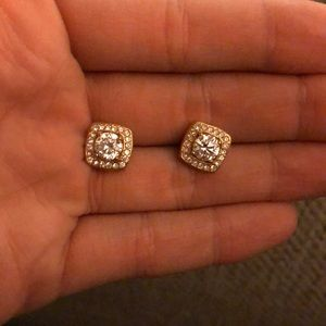 Square gold crystal studs