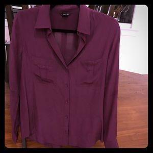 Club Monaco silk blouse shirt burgundy size small