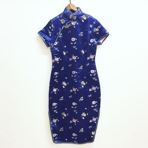 Vintage Chinese mandarin satin brocade dress