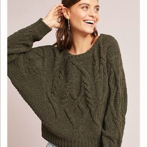 Anthropologie Cabled Chenille Pullover