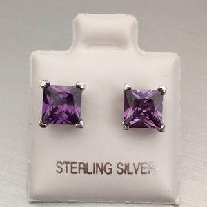 Jewelry - Sterling Silver 6MM Square Amethyst CZ Earrings