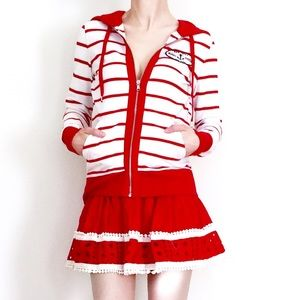 Tommy Hilfiger red white Striped Hoodie Cardigan