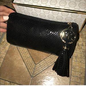 Michael Kors snake leather black makeup bag clutch