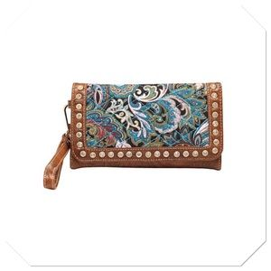 Turquoise Paisley Quilted Clutch
