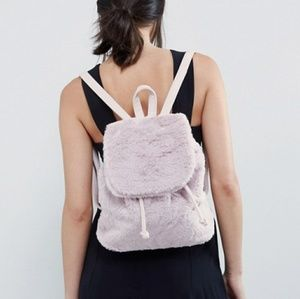 🍁Just In🍁Lamoda Pink Faux Fur Backpack