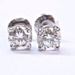 Fine Round Cut Diamond Stud Earrings .90Ct SCREW B