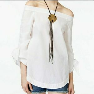 Free People Off the Shoulder White Tunic Blouse