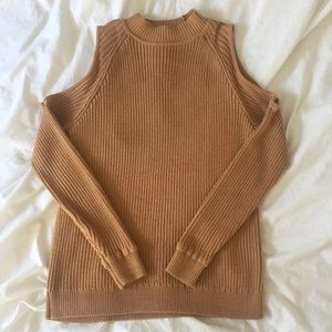 Tan cold shoulder sweater