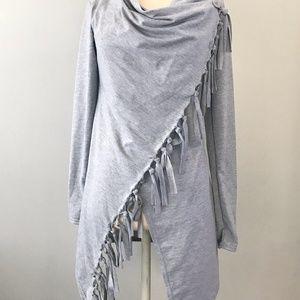 Asymmetrical Grey Fringe Jacket Cape Coat Sm/Med