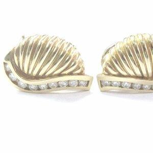 18Kt Diamond Yellow Gold Shell Earrings .50Ct 18.3