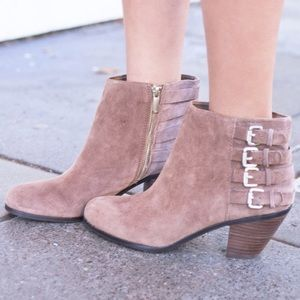 Sam Edelman Lucca taupe suede booties