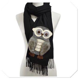 Black Owl Fringe Scarf