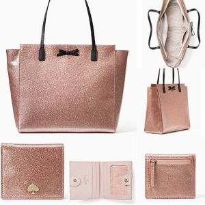Kate spade glitter tote and wallet