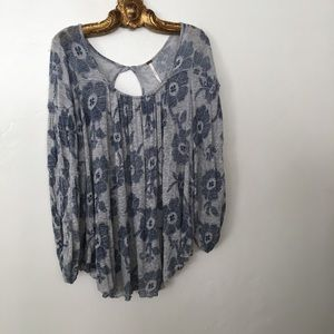 Free People Oversize Floral 3/4 Sleeve Top M EUC