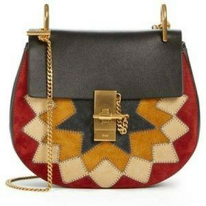 Chloe Small Drew Wonderwoman patchwork suede purse