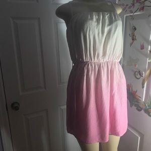 PAPAYA :|Cute Ombré Geometric Strapless Dress.LRG.