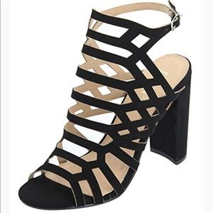 Caged thick heel