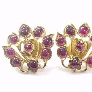 22Kt Gem Red Ruby Yellow Gold Stud Flower Earrings