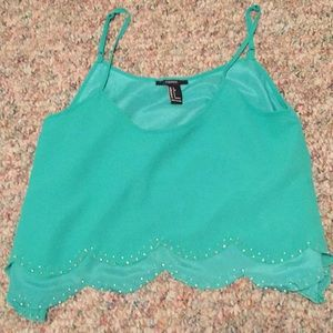 Green Scallop Tang top with clear beading