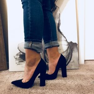 Chunky pointed black heels