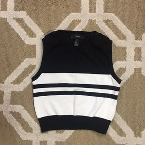 (Forever21) Black Striped Knit Sleeveless Crop Top