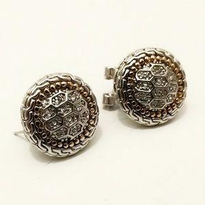 Vintage Sterling & Gold Diamonique Earrings