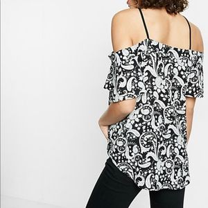Paisley Strappy Cold Shoulder Top