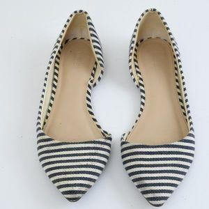 {F21} Navy Blue Stripe Point Toe Flats Size 6