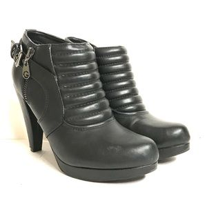Guess futuristic black heeled booties