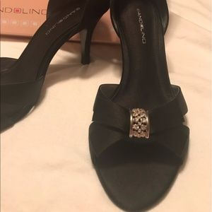 black satin formal pumps heels shoe women size 8