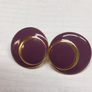 Purple and Gold Tone Clip Earrings