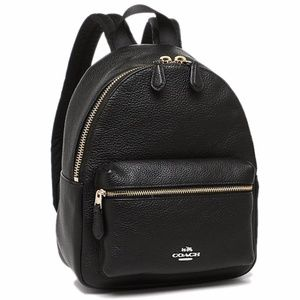 Coach Pebbled Leather Mini Charlie Backpack Black