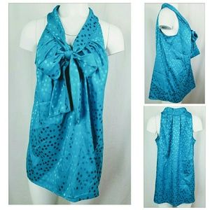 LANE BRYANT Size 18 Blouse Teal Sleeveless Bow