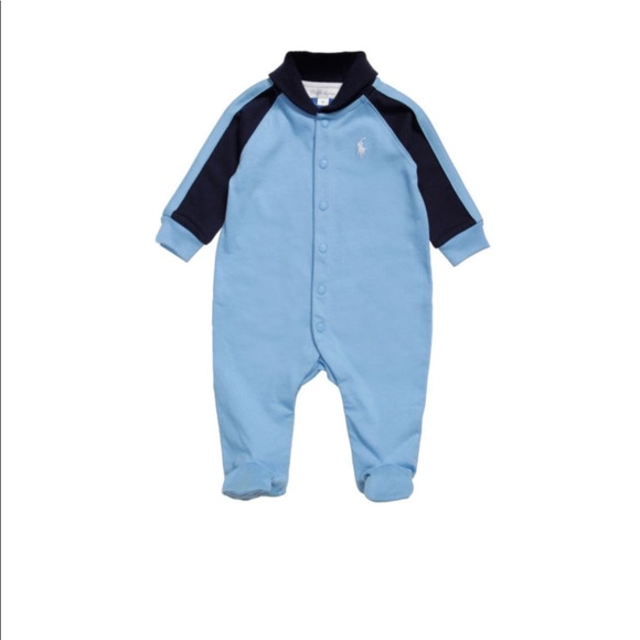 f908734385af6 Ralph Lauren Baby Boy Shawl Collar Footed Coverall.  M 5a1681b078b31cddff021be1